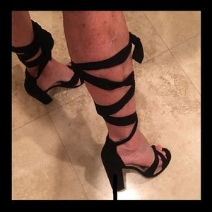Super sexy black ankle wrap suede high sandals